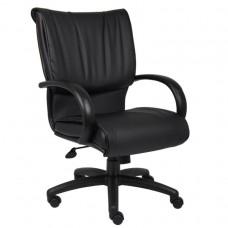 Mid Back Black LeatherPlus Executive Chair W/ Knee Tilt
