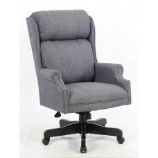 High Back Slate Grey Commercial Grade Linen  Chair With Black Base