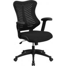 High Back Designer Black Mesh Executive Swivel Chair with Adjustable Arms [BL-ZP-806-BK-GG]