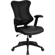 High Back Designer Black Mesh Executive Swivel Chair with Leather Seat and Adjustable Arms [BL-ZP-806-BK-LEA-GG]