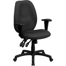 High Back Gray Fabric Multifunction Ergonomic Executive Swivel Chair with Adjustable Arms [BT-6191H-GY-GG]