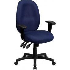 High Back Navy Fabric Multifunction Ergonomic Executive Swivel Chair with Adjustable Arms [BT-6191H-NY-GG]