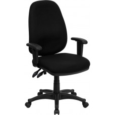 High Back Black Fabric Executive Swivel Chair with Adjustable Arms [BT-661-BK-GG]