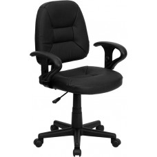 Mid-Back Black Leather Ergonomic Swivel Task Chair with Adjustable Arms [BT-682-BK-GG]