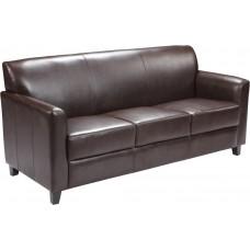 HERCULES Diplomat Series Brown Leather Sofa [BT-827-3-BN-GG]