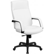 High Back White Leather Executive Swivel Chair with Memory Foam Padding with Arms [BT-90033H-WH-GG]