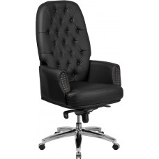 High Back Traditional Tufted Black Leather Multifunction Executive Swivel Chair with Arms [BT-90269H-BK-GG]