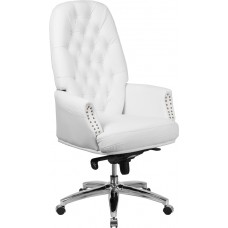 High Back Traditional Tufted White Leather Multifunction Executive Swivel Chair with Arms [BT-90269H-WH-GG]