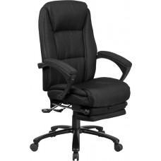 High Back Black Fabric Executive Reclining Swivel Office Chair with Comfort Coil Seat Springs and Padded Arms [BT-90288H-BK-GG]