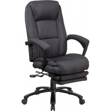 High Back Gray Fabric Executive Reclining Swivel Office Chair with Comfort Coil Seat Springs and Padded Arms [BT-90288H-GY-GG]