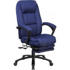 High Back Navy Fabric Executive Reclining Swivel Office Chair with Comfort Coil Seat Springs and Padded Arms [BT-90288H-NY-GG]