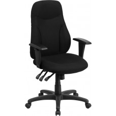 High Back Black Fabric Multifunction Ergonomic Swivel Task Chair with Adjustable Arms [BT-90297H-A-GG]