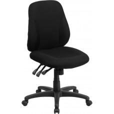 Mid-Back Black Fabric Multifunction Ergonomic Swivel Task Chair [BT-90297S-GG]