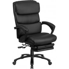 High Back Black Leather Executive Reclining Swivel Chair with Comfort Coil Seat Springs and Arms [BT-90519H-GG]