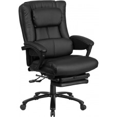 High Back Black Leather Executive Reclining Swivel Chair with Lumbar Support, Comfort Coil Seat Springs and Arms [BT-90527H-GG]