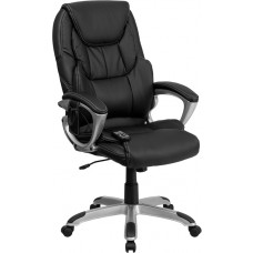 High Back Massaging Black Leather Executive Swivel Chair with Silver Base and Arms [BT-9806HP-2-GG]