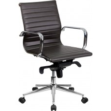 Mid-Back Brown Ribbed Leather Swivel Conference Chair with Knee-Tilt Control and Arms [BT-9826M-BRN-GG]