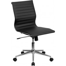 Mid-Back Armless Black Ribbed Leather Swivel Conference Chair [BT-9836M-2-BK-GG]