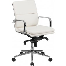 Mid-Back White Leather Executive Swivel Chair with Synchro-Tilt Mechanism and Arms [BT-9895M-WH-GG]