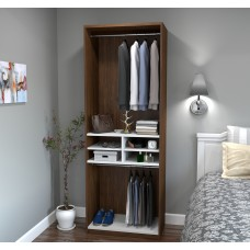 "Cielo by Bestar 29.5"" Multi-Storage Cubby Unit in Oak Barrel and White"