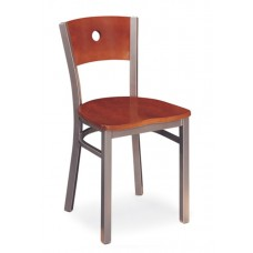 Avalon Armless Chair with circular cutout - Wood Seat - Painted