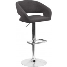 Contemporary Charcoal Fabric Adjustable Height Barstool with Chrome Base [CH-122070-BKFAB-GG]