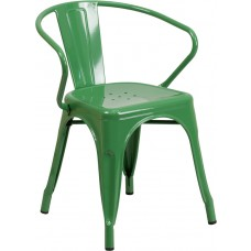 Green Metal Indoor-Outdoor Chair with Arms [CH-31270-GN-GG]
