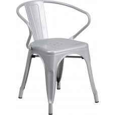 Silver Metal Indoor-Outdoor Chair with Arms [CH-31270-SIL-GG]