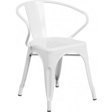 White Metal Indoor-Outdoor Chair with Arms [CH-31270-WH-GG]