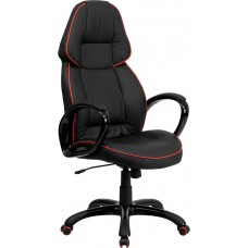 High Back Black Vinyl Executive Swivel Chair with Red Piping and Arms [CH-CX0248H01-VEN-GG]