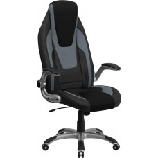 High Back Black and Gray Vinyl Executive Swivel Chair with Black Mesh Insets and Flip-Up Arms [CH-CX0326H02-GG]