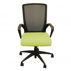 Charlie Task Chair, GREEN foam waterfall seat, black mesh, soft casters