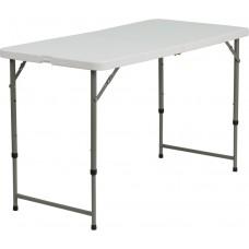 24''W x 48''L Height Adjustable Granite White Plastic Folding Table [DAD-YCZ-122Z-2-GG]