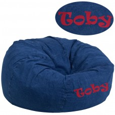 Personalized Oversized Denim Kids Bean Bag Chair [DG-BEAN-LARGE-DENIM-TXTEMB-GG]