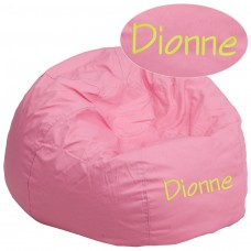 Personalized Oversized Solid Light Pink Bean Bag Chair [DG-BEAN-LARGE-SOLID-PK-TXTEMB-GG]