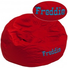 Personalized Oversized Solid Red Bean Bag Chair [DG-BEAN-LARGE-SOLID-RED-TXTEMB-GG]