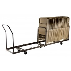 Brown Folding Chair Dolly - Vertical storage - 50 Chair Capacity