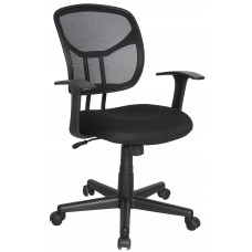Essentials by OFM Mesh Swivel Task Chair with Arms, Black, Black