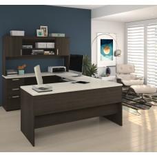 Ridgeley U-shaped Desk in Dark Chocolate & White Chocolate