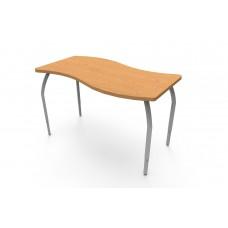 ELO® Tide table, Bannister Oak laminate & banding w/4 adjustable smooth silver legs