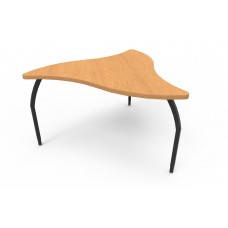 ELO® Manta table, Bannister Oak laminate & banding w/3 adjustable black legs