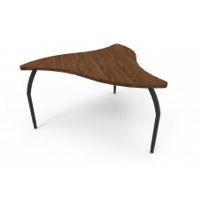 ELO® Manta table, Montana Walnut laminate & banding w/3 adjustable black legs