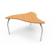 ELO® Manta table, Bannister Oak laminate & banding w/3 adjustable smooth silver legs