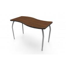 ELO® Tide table w/ Montana Walnut laminate, 4 adjustable smooth silver legs