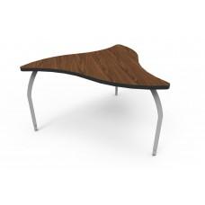 ELO® Manta table w/ Montana Walnut laminate, 3 adjustable smooth silver legs