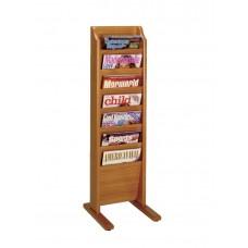Free Standing Magazine Rack - 7 Pockets - Cascade - Specify Wood Finish