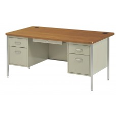 Desk Double Ped 30X60X29H Round Corners Central Locking Specify Base And Top Colors