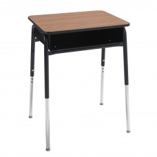 Desk - Royal 1600 Open Front - 18X24 Laminate Top - Metal Bookbox - 22.5 -30.5 Adj Height - Black Four Leg Frame - Specify Laminate Top Color