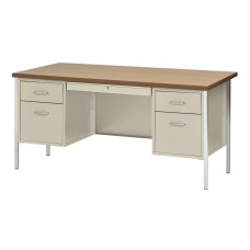 Desk Double Ped W Center Drawer 60X30 Specify Color