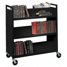 Book Truck 4 Slant Top Shelves 1 Flat Lower Shelf 37Wx18Dx42H Specify Color